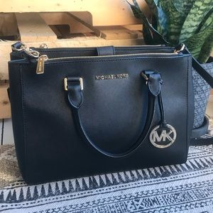 Michael Kors Sutton Medium Black Satchel Bag